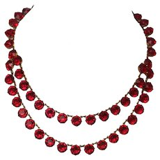 Art Deco Open Back Crystal Necklace, Cherry Red Double Strand