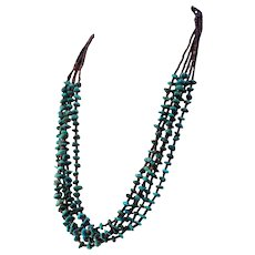 Native American Five Strand Turquoise and Black Heishi Necklace