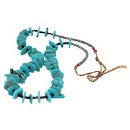 Native American Turquoise Disc and Heishi Necklace