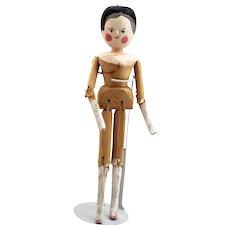 German Grodnertal Wooden Peg Doll - Red Tag Sale Item