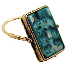 18K Gold Flip Ring, Egyptian Antique Hieroglyphs Swivel Ring
