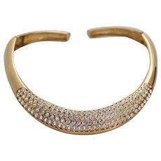 Valentino Couture Collar Necklace, Rhinestone Encrusted Runway Necklace, Gold-tone