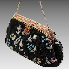 French Beaded Evening Bag, Gorgeous Enamel Clasp