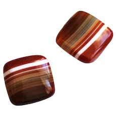 Vintage Red Banded Agate Cuff Links, 1920s