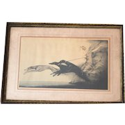 "LOUIS ICART 1927 ""Speed Nymph with Greyhounds"" Matted and Framed"