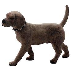Faithful Gray Dog, Ceramic and Felt with Studded Collar