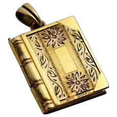 Book Locket by Hayward, Floral Etched Gold-Filled