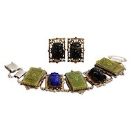 Rich and Colorful Selro Bracelet and Earrings Princess and Mosaic Demi-parure