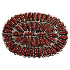 Zuni Brooch, Pin, Pendant Petit Point Coral, Sterling Silver, Native American Southwest