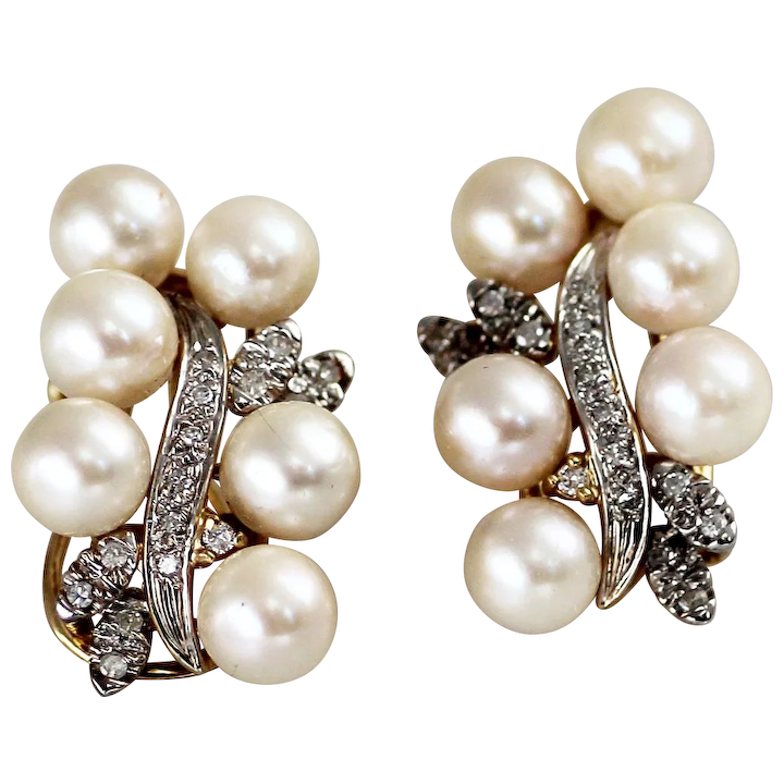 Elegant Cultured Pearl And Diamond Earrings In 14k Gold Vintage Estate 1940s 1950s