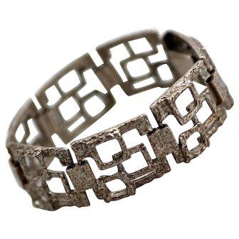 Modernist Mid Century Sterling Bracelet, Geometric