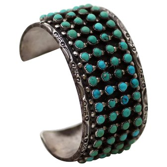 Zuni Sterling Four Row Snake Eye Turquoise Cuff Bracelet 100 Grams, Signed