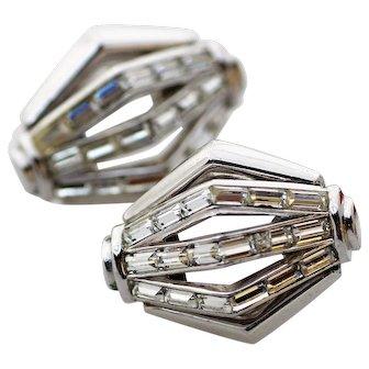 Trifari Modernist Geometric Rhinestone Earrings