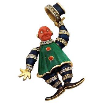 HATTIE CARNEGIE Hat Tipping Clown Pin, Enamel & Rhinestones