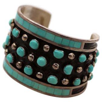 Zuni Sterling & Turquoise Cuff Bracelet Signed Maize