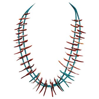 Zuni Two Strand Fox Fetish Necklace, Turquoise and Shell