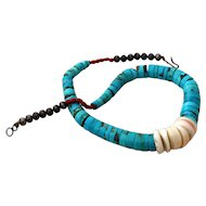 Pueblo Turquoise Disk Necklace, Shell and Coral, Sterling