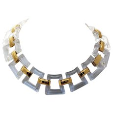 Trifari Clear Lucite Square Modernist Gold Tone Link Necklace