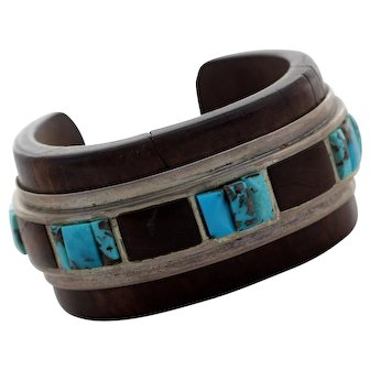 Wood, Sterling and Turquoise Navajo Cuff