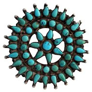 "Large 3"" Old Pawn Zuni Sterling Cluster Brooch Pin"