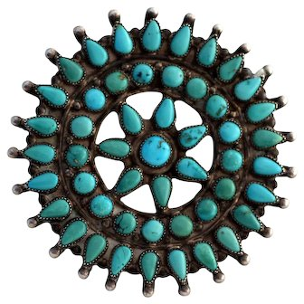 """Large 3"""" Old Pawn Zuni Sterling Cluster Brooch Pin"""
