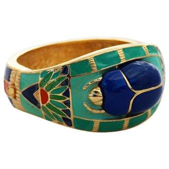 Hattie Carnegie Egyptian Revival Lapis and Enamel Scarab Bangle Bracelet