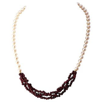 14K Gold Pearl and Garnet Necklace, Simply Elegant