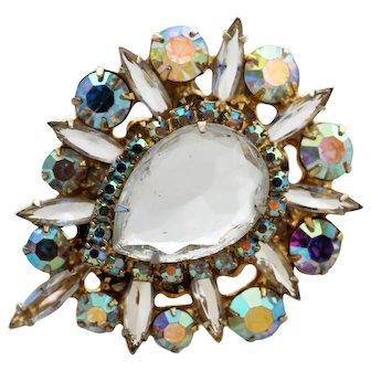 D&E JULIANA Clear Reflective Rhinestone Vintage Brooch Pendant