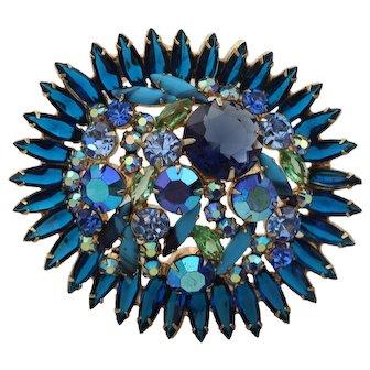 D&E JULIANA Rhinestone Vintage Brooch - Huge, Blue, & Beautiful