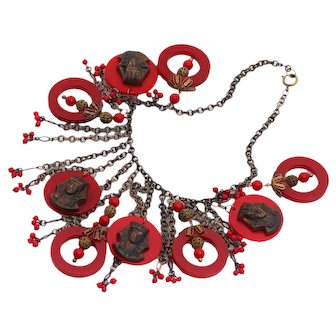 Egyptian Themed Bakelite Red Hot Necklace with Dangles