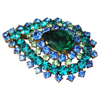 Austria – Vibrant Brooch Pendant, Green and Blue Gorgeous
