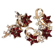 1950s Trifari Ruby Red Flowing and Floral Brooch and Earrings