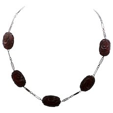 Bakelite Cherry Amber Necklace Rose Carved Large Beads