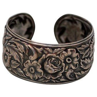 Danecraft Floral Cuff, Exquisite Floral Detailing, Sterling