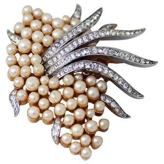 Trifari Faux Pearl and Rhinestone Brooch, Gold & Silver Plated