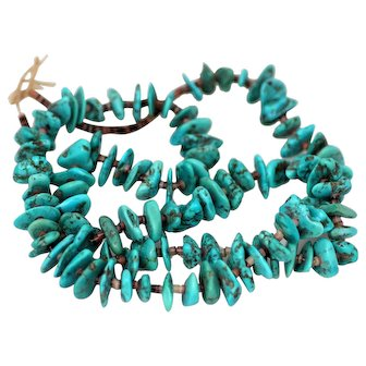 Long Strand of Turquoise, Nicely Matched Stones, 32 inches