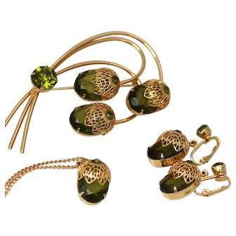 Juliana for Sarah Coventry Touch of Elegance Earrings, Necklace and Brooch