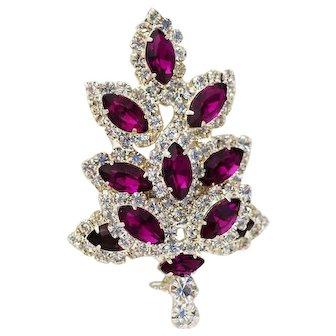 Royal Purple and Clear Rhinestone Christmas Tree Pin