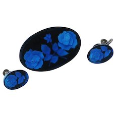 Blue Lucite with Roses Brooch and Earrings, Thick Beautiful