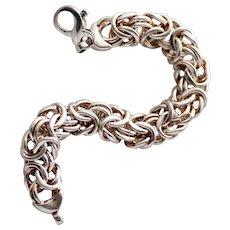 """Sterling Silver Wide Byzantine Bracelet, 7 1/2"""""""