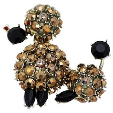 Gold Rhinestone French Poodle Dog Brooch Pin