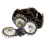 Sterling Silver Zuni Sun Face Concho Belt with Inlay Mother of Pearl