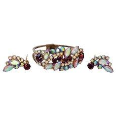 Juliana D & E Purple, Pink Blue Aurora Borealis Rhinestone Clamper Bracelet and Earrings