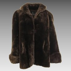 Faux Fur Jacket, Rich Thick Heavy Dark Brown from Bon Marché Seattle