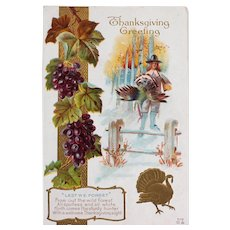Thanksgiving Greeting Postcard, Let We Forget Color and Embossed, Unused