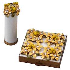 Yellow Flower Compact and Lipstick