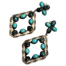 "Zuni Sterling 3"" Dangle Earrings w/ Turquoise Cabochons"