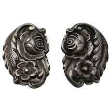 Repousse Floral Sterling Silver Clip Earrings by S. Kirk & Son, 1940's