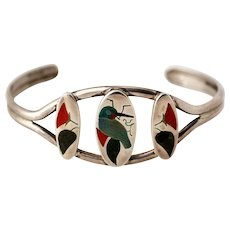 Zuni Sterling Silver Bracelet with Bird and Flower Inlay by HM Coonsis
