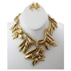 Oscar De La Renta Necklace and Earrings, Antiqued Gold Leaves